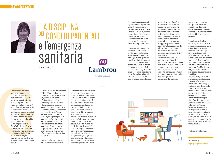 MAG 11/2020 – LA DISCIPLINA DEI CONGEDI PARENTALI E L'EMERGENZA SANITARIA – Avv. Monica Lambrou