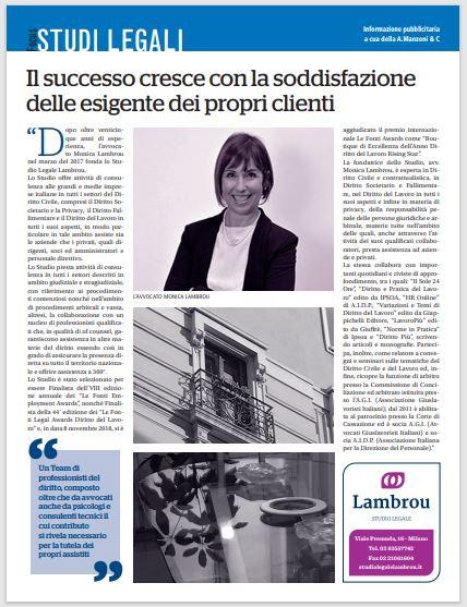 Repubblica Milano Focus Studi Legali – Il successo cresce con la soddisfazione delle esigente dei propri clienti – Avv. Monica Lambrou