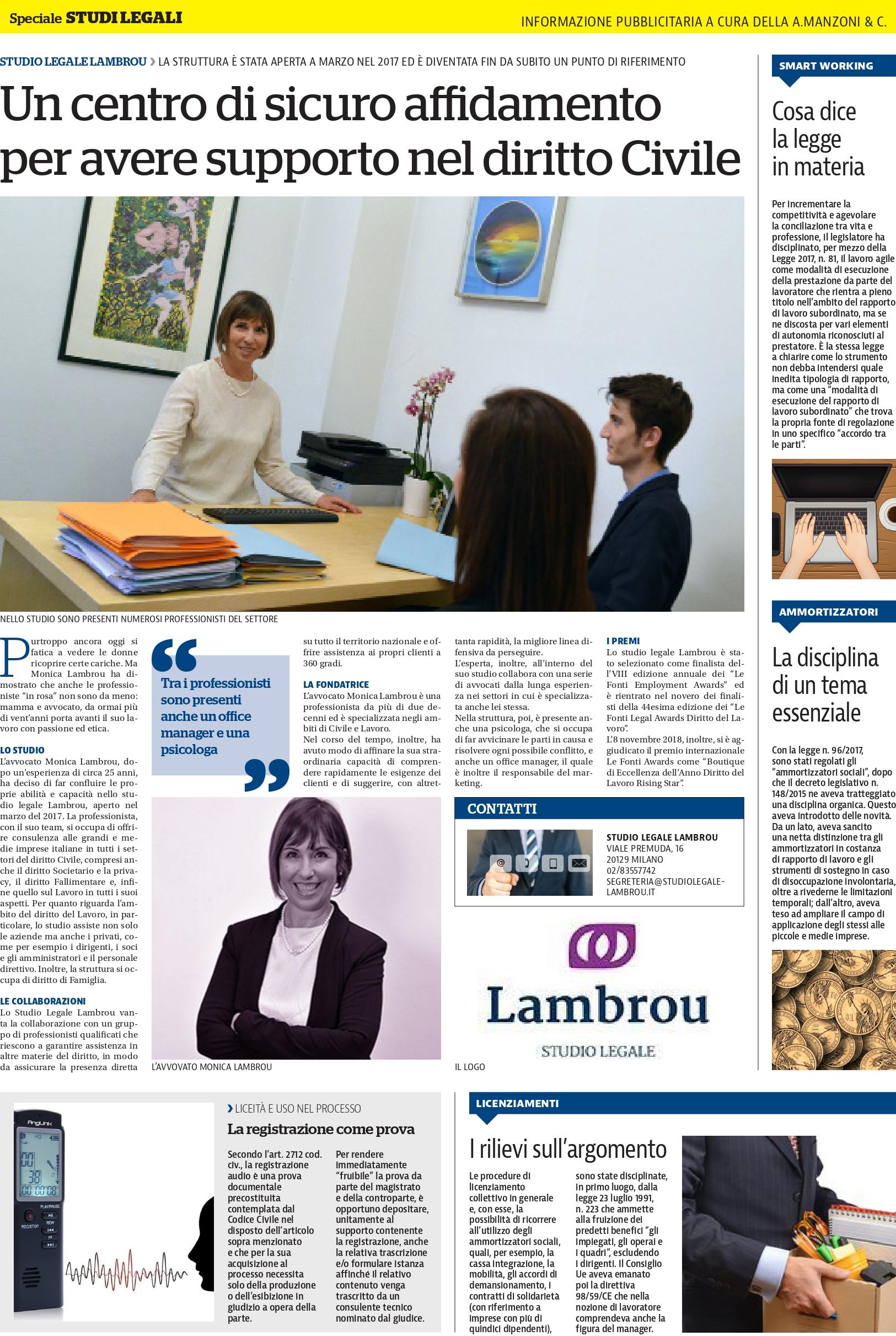 Un Centro di sicuro affidamento per un supporto nel Diritto Civile – Articolo su La Repubblica Milano.